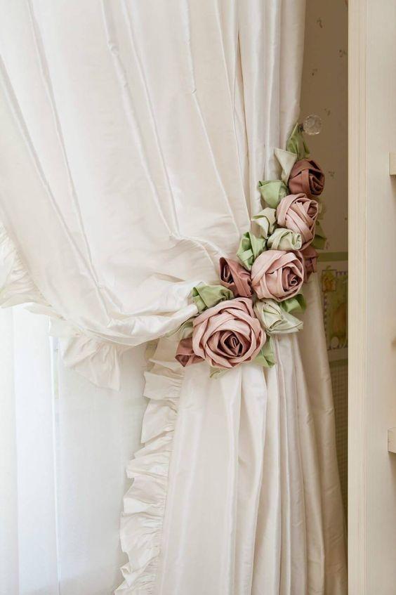 pink flowery curtain tie backs