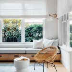 Raw Wooden Bench With Grey Cushion, White Pillows