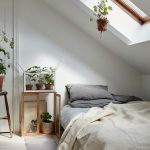 Small Bedroom With White Ceiling, White Flooor, Grey Bed, Windows On Slanting Windows