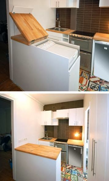 small kitchen with colorful tiles floor, white wall, white cabinet, brown wooden kitchen top, washign machine under the brown top lid