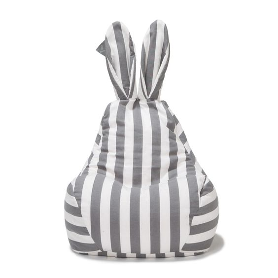 striped bean bag in the shape of rabbit