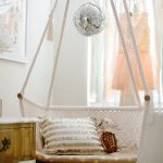 Swing With Wooden Board Seating And Frame, White Woven Macrame