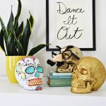 Top Cabinet With Golden Skull With Glasses, Gold Shimmery Skull, Colourful Skull