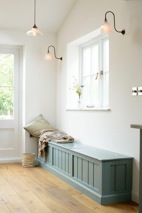 tosca wooden bench with storage, door above