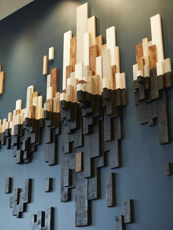 two tone wooden art wall