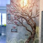 Wall Chiseled With Tree, Flowers, Grass Image