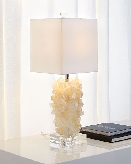 white tiered calcite side table lamp