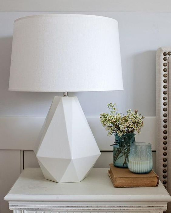 white top lamp with white geometric support