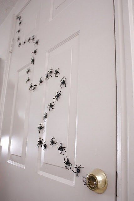 white wooden dor with small spiders walk on the handle