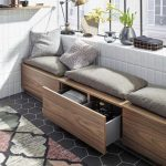 Wooden Brown Bench With Storage, Grey Cushion, White Tiles Wall, Grey Tiles Flooring