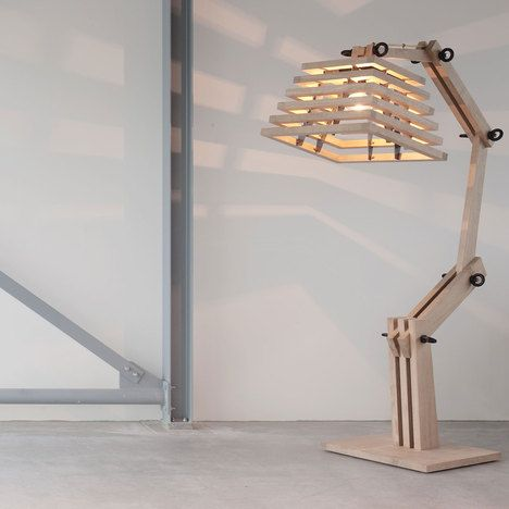 wooden table lamp with stiped wooden head