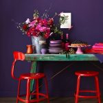 Corner Dining Space With Purple Wall, Green Table, Red Chairs, Purple Plates
