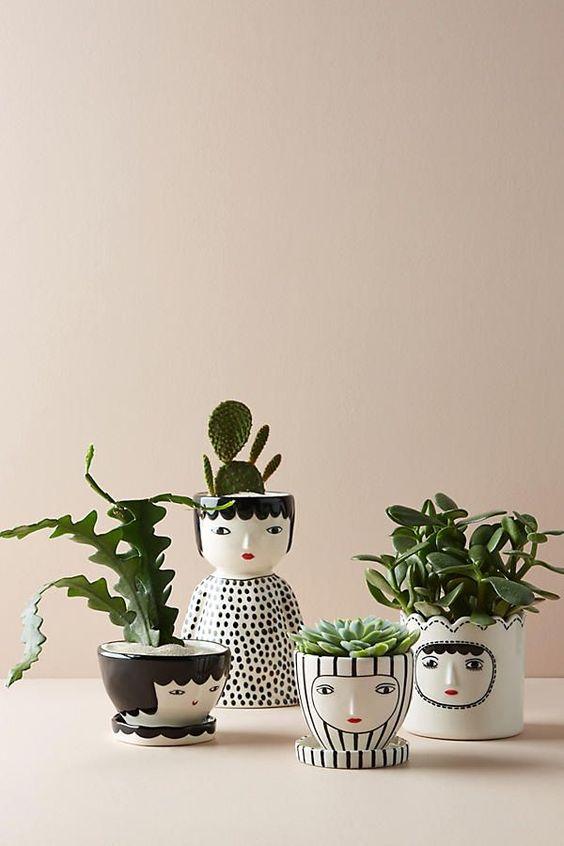 custom pots, custom paints in the shape of face