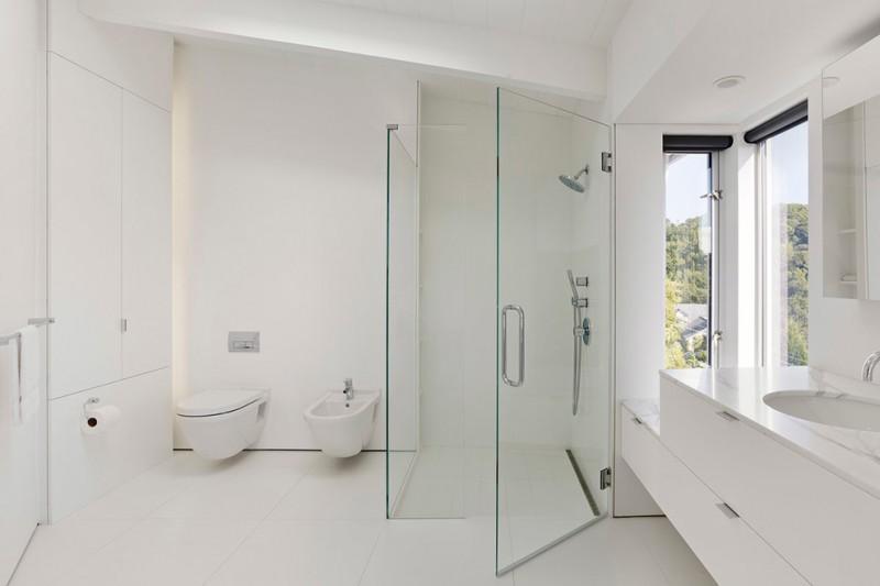 frameless shower door sweep modern toilet wall mounted shower head windows black shade minimalist white vanity sink wall mirror