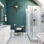 Frameless Shower Door Sweep Teal Walls White Wall Tile White Flooring Iron Side Table White Vanity White Vanity White Bathtub Wall Mirror Wall Sconce Shower Fixture