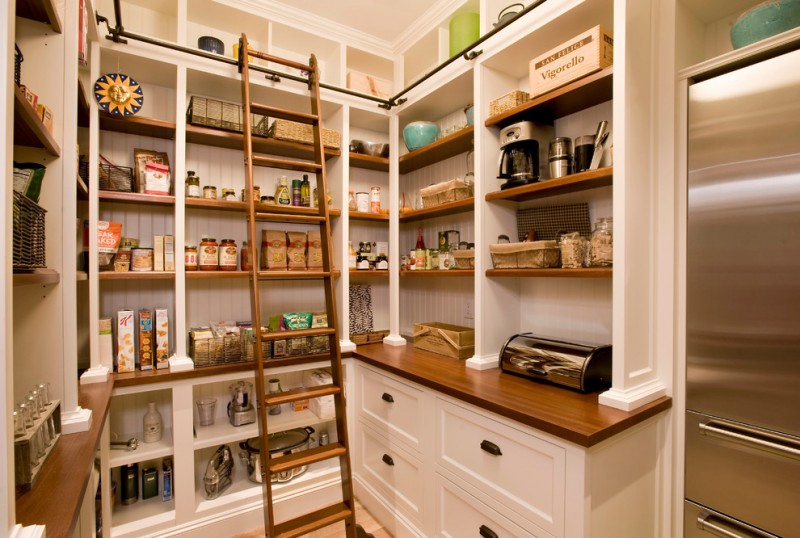 pantry ladder refrigerator white drawers wooden countertop coffee maker wooden ladder black iron ladder rail shelves