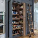 Pantry Ladder Wooden Ladder Grey Cabinet Gray Cupboard Wooden Sliding Shelves Wooden Flooring Built In Kitchen Appliances Wooden Ladder Wheels