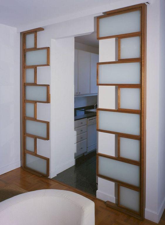 puzzle zigzag glass sliding door