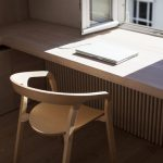 Small Simple Window With Two Door, Long Low Wooden Table, Low Wooden Chair
