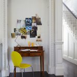 Small Writing Desk With Drawers Pictures White Walls Small Wooden Desk Dark Brown Wooden Flooring Yellow Dining Chair Staircase Railing
