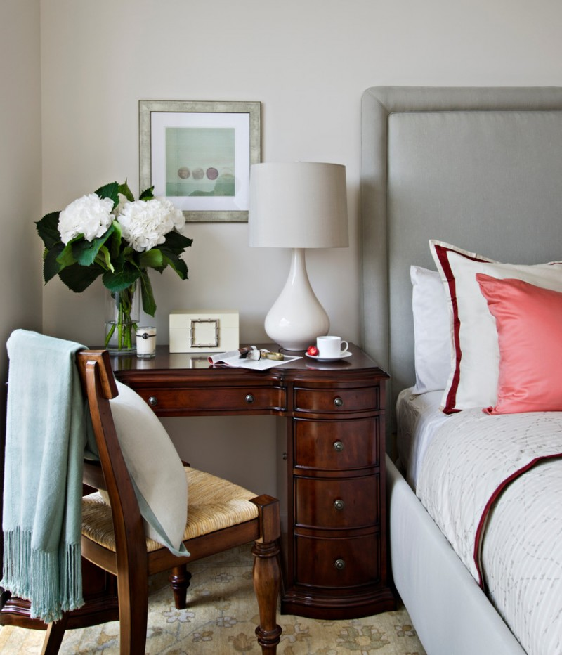 small writing desk with drawers white table lamp wooden desk drawers wooden chair throw grey bed headboard glass flower vase white bedding artwork