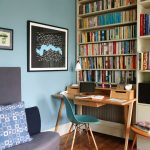 Small Writing Desk With Drawers Wooden Bookshelves Wooden Floor Blue Easmes Chair Artwork Blue Wall Grey Chair Blue And White Pillow