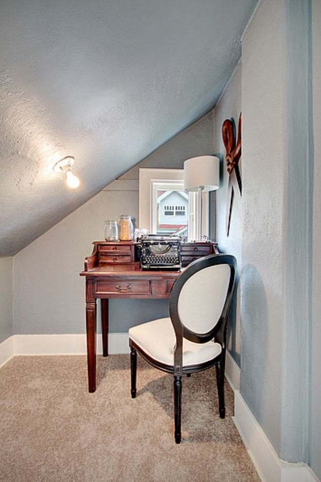 small writing desk with drawers wooden desk drawers white chair grey walls lamp white table lamp beige carpet white framed window