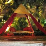 Swing Hammock Bed Round Wooden Hammock Bed White Rope Red And Yellow Drapes Garden Round Yellow Hammock Bed Cushion Red Pillows