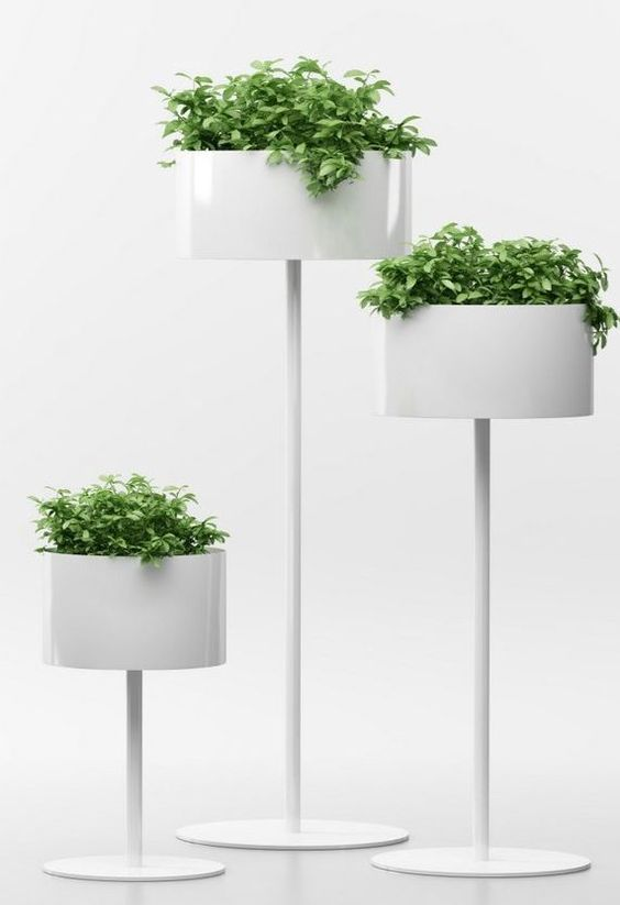 white glossy plants pot with round pot, vertical line support