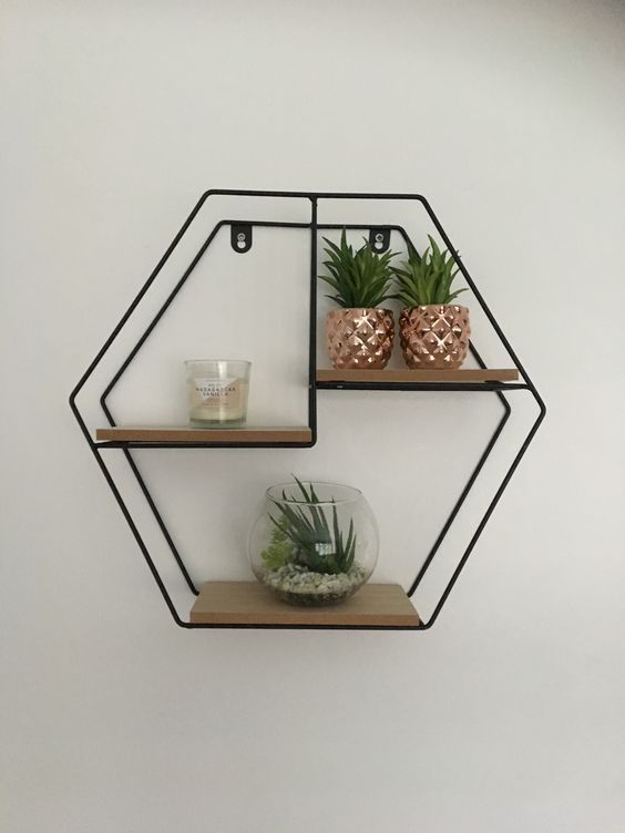 wire hexagonal wall shelves with horizontal partitions