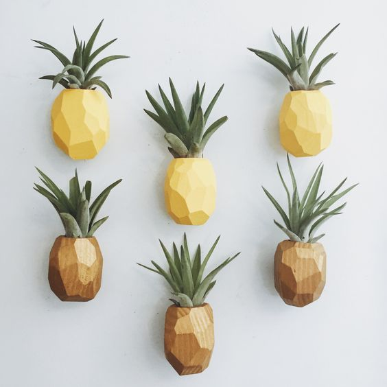 yellow and brown pineapple shaped wall planter