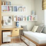 A Room With Wooden Floor, Brown Wooden Study, Platform Bed With Drawers, White Shelves On Different Line