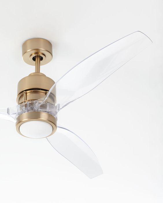 acrylic ceiling fan with golden body