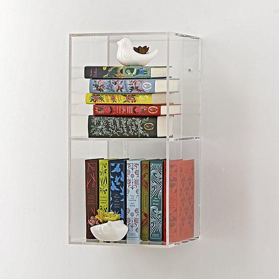 acrylic floating shelves, books