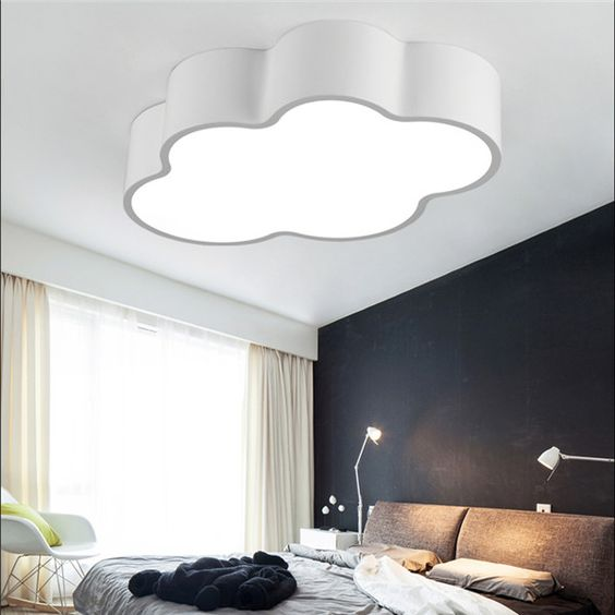 acrylic lamp, white ceiling, black wall, white wall, bed, rocking chairs