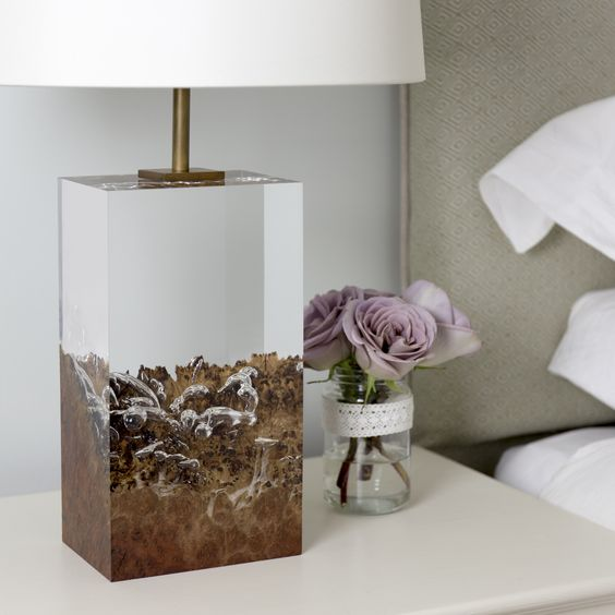acrylic table lamp with wood inside, white cover, white side table, white bedding