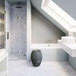 Bathroom, WHITE MARBLE FLOOR, WHITE MARBLE WALL ON SHOWER, WHITE WALL, GREY SUBWAY TILES On Tub, White Vanity, White Sink, Glass Windows