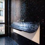 Bathroom Black Mosaic Tiles On Floor, Wall, On Curving Forward Wash Basin, Silver Faucet