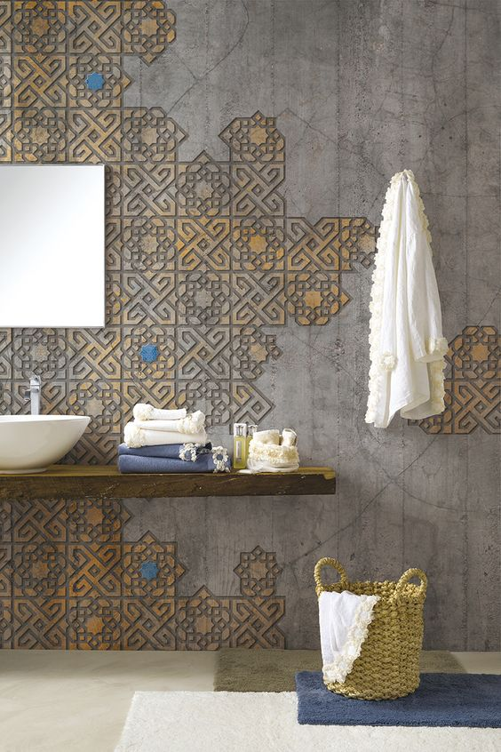 bathroom grey floor, grey concrete wall, grey textured wall on yellow, wooden floating shelves vanity, white sink, square mirror, mat, basket,