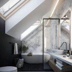 Bathroom, Grey Flooring, Black Stones, White Toilet, White Tub, Wooden Shelf, White Vanity, White Sink, Glass Partition, White Marble Wall, White Painted Ceiling, Large Glass Windows