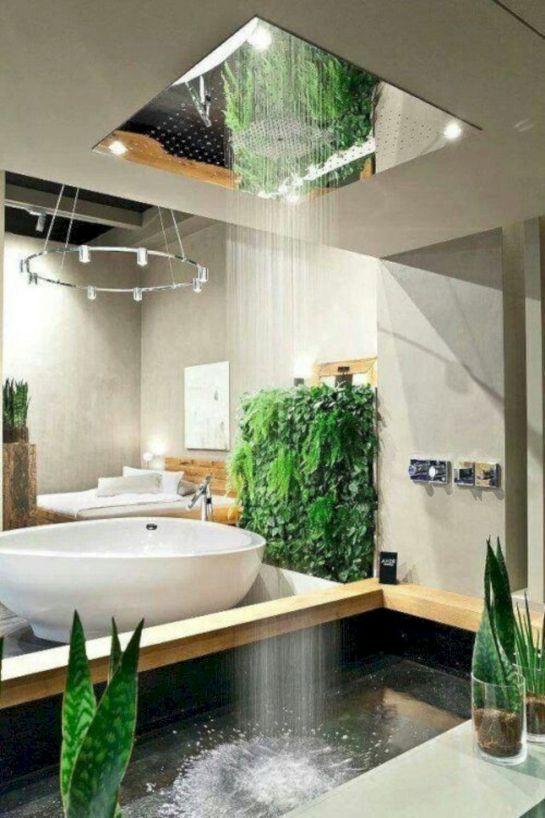 bathroom grey wall, concrete tub, wooden frame, white sink, shower