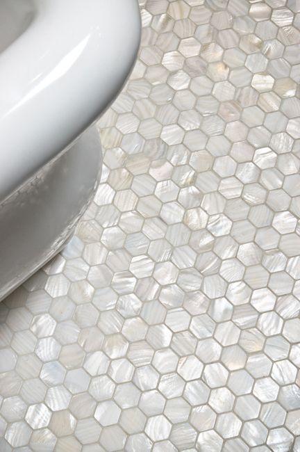 bathroom tiles of hexagonal mosaic
