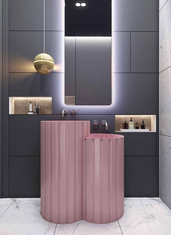 bathroom vanity with white floor, grey tiles wall, mirror, pink round sikn built double, built in shelves