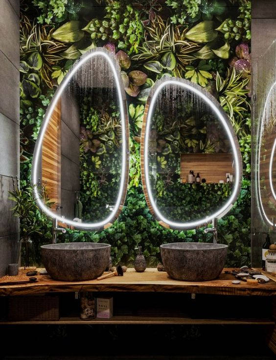 bathroom vanity wooden floating shelves vanity, stone sink, plants on the wall, mirrors with LED frame
