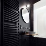 Bathroom With Black Walls, Black Rails, Hexagon Tiles Cube Pattern In Black Grey, Black Tiles