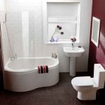 Bathroom With Dark Floor, White Toilet, White Sink Vanity, White Pear Bathtub With Shower, Glass Partition, White Wall, Red Wall