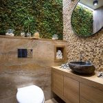 Bathroom With Wooden Floor, Wooden Floating Cabinet Vanity, Textured Brown Backsplash, Brown Marble Wall, Plants On Top