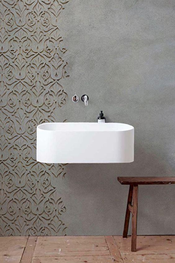bathroom wood floor, grey wall, grey textured wall crafted, white sink