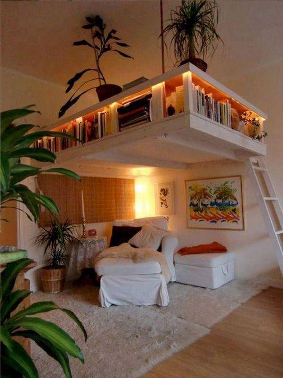 bedrom with bedroom on upper level, bookshelves on the bedding, living area under the level, rug, wooden floor, plants