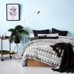 Bedroom, White Floor, Light Blue Wall, Wooden Bed Platform, Black And White Tribal Bedding, Side Table, White Floor Lamp